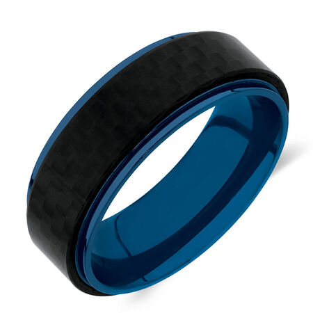 Men's Ring in Blue Tone Stainless Steel & Carbon Fibre