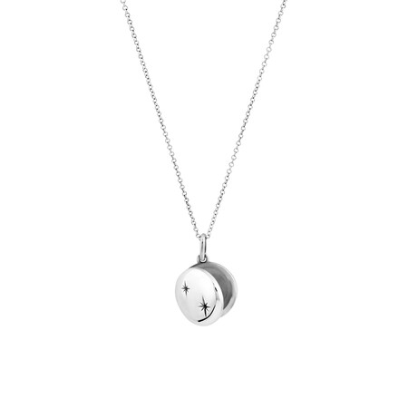 Mini Oval Locket with Cubic Zirconia in Sterling Silver