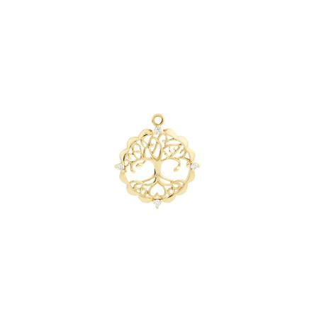 Tree of Life Talisman Pendant with Diamonds in 10ct Yellow Gold