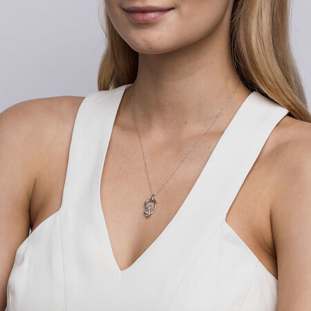 Small Knots Pendant with 0.13 Carat TW of Diamonds in Sterling Silver