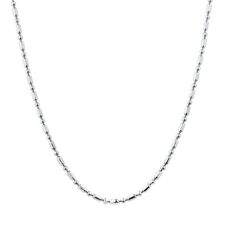 """60cm (24"""") Beaded Chain in Sterling Silver"""