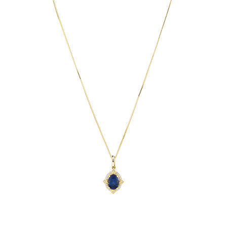 Pendant with Created Sapphire & Diamonds in 10ct Yellow Gold