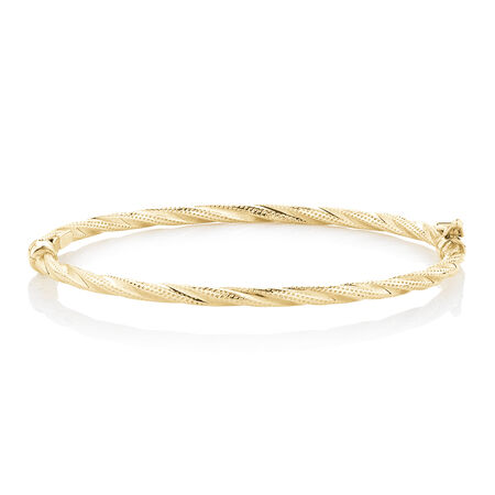 Hollow Oval Twist Bangle in 10ct Yellow Gold