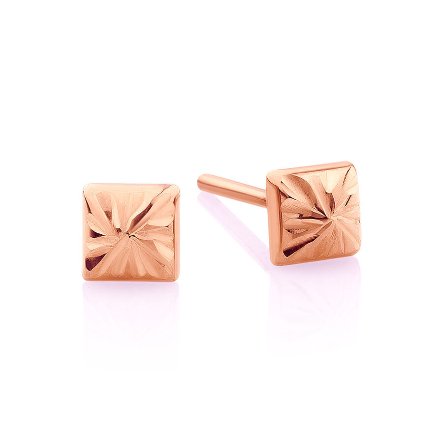 Pyramid Stud Earrings in 10ct Rose Gold