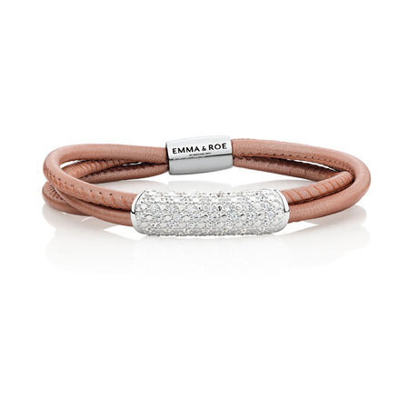 Wild Hearts Starter Bracelet with Cubic Zirconia in Blush Leather, Sterling Silver & Stainless Steel