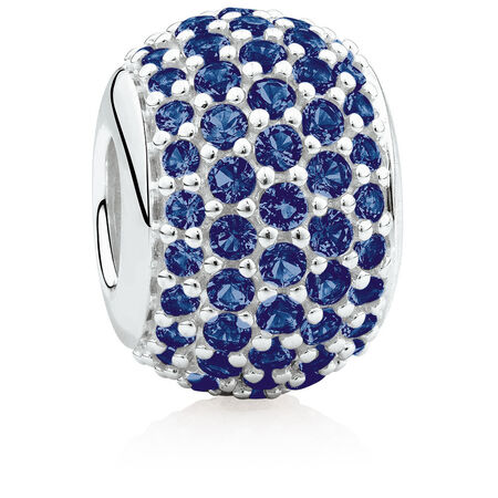 Pave Set Charm with Blue Crystal in Sterling Silver