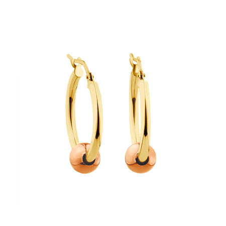 Ball Hoop Earrings in 10ct Yellow & Rose Gold