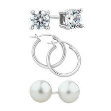 Stud & Hoop Earrings Set with Cultured Freshwater Pearls & Cubic Zirconia in Sterling Silver
