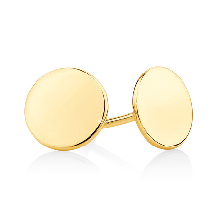 Plain Circle Stud Earrings In 10ct Yellow Gold