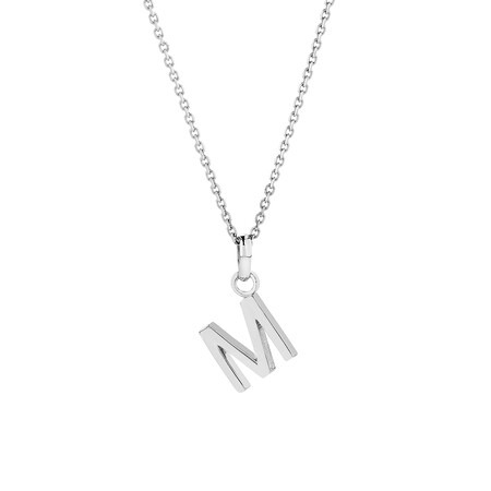 """""""M"""" Initial Pendant in Sterling Silver"""