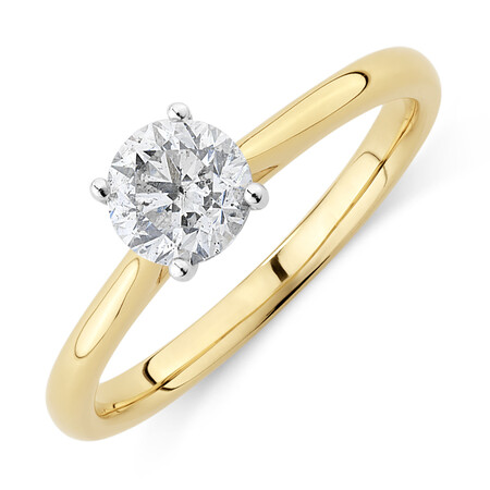 Evermore Certified Solitaire Engagement Ring with 0.70 Carat TW Diamond in 14ct Yellow & White Gold