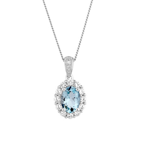 Pendant with Aquamarine & Created White Sapphire in Sterling Silver