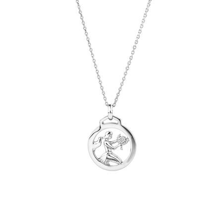 Virgo Zodiac Pendant in Sterling Silver