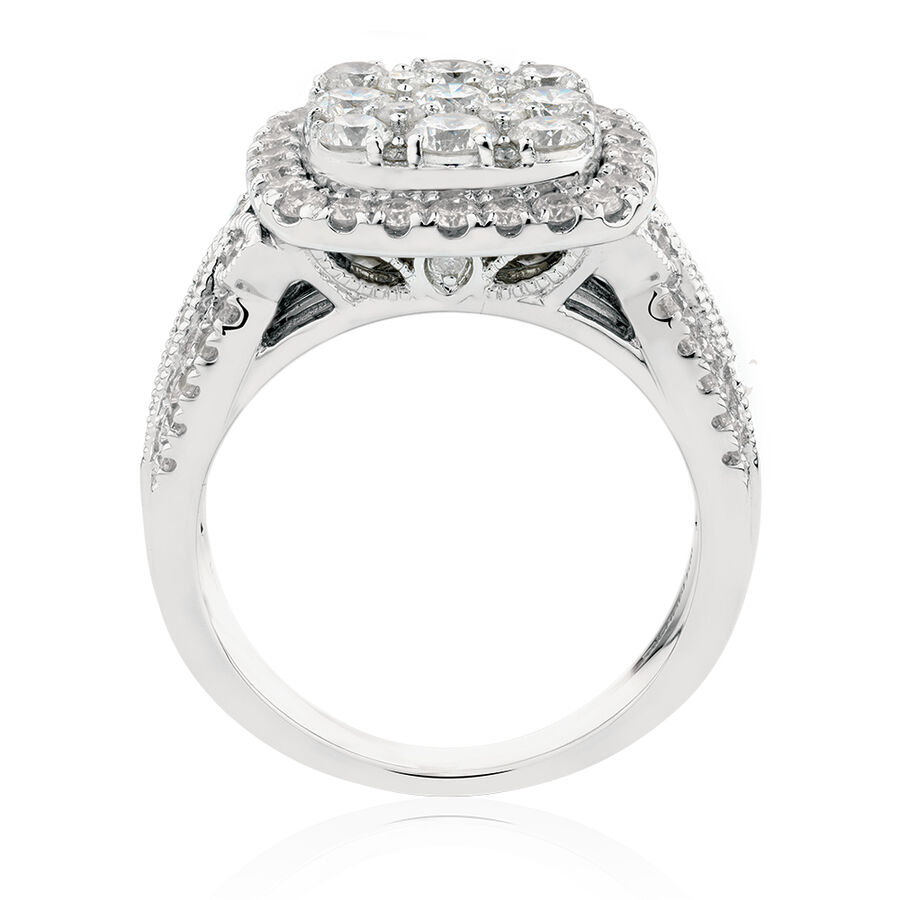 Ring with 2 Carat TW of Diamonds in 10ct White Gold
