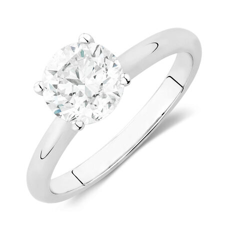 Solitaire Engagement Ring with a 1.95 Carat Diamond in 14ct White Gold