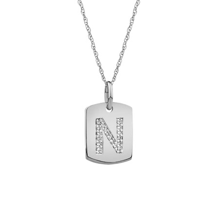 """N"" Initial Rectangular Pendant With Diamonds In 10ct White Gold"