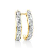 Hoop Earrings with 0.25 Carat TW of Diamonds in 10ct Yellow Gold