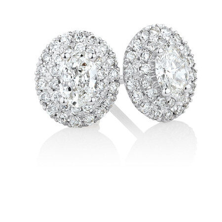 Stud Earrings with 0.54 Carat TW of Diamonds in 10ct White Gold