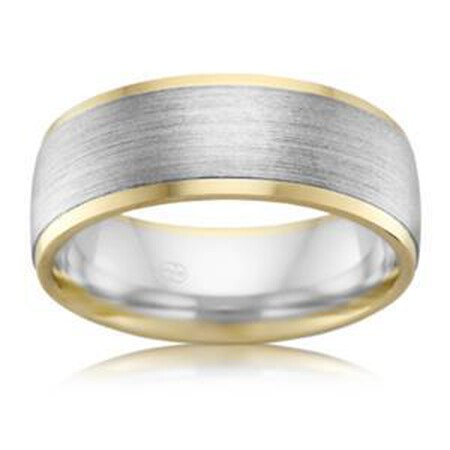 6mm Men's  Wedding Band in 10ct Yellow & White Gold