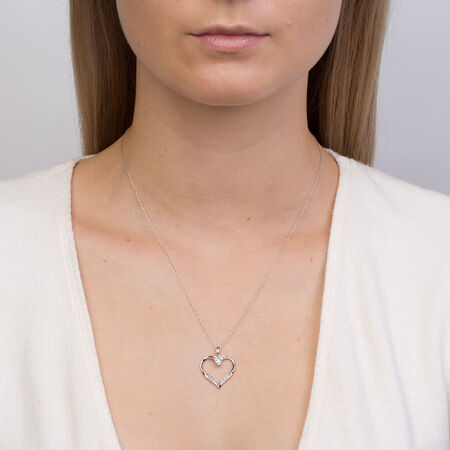 Online Exclusive - Heart Pendant with 0.15 Carat TW of Diamonds in 10ct White Gold