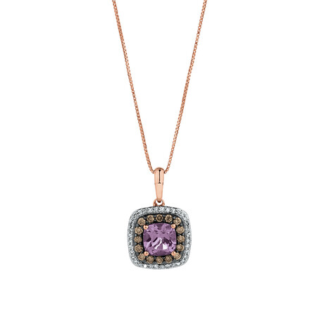 Pendant with 0.34 Carat TW of White & Brown Diamonds & Amethyst in 14ct Rose Gold