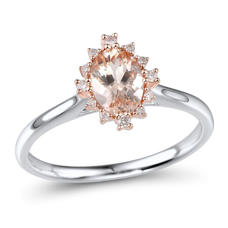 Ring with Morganite in 10ct Rose Gold & Sterling Silver