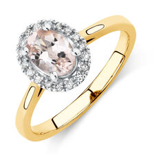 Ring with Morganite & Diamonds in 10ct Yellow & White Gold