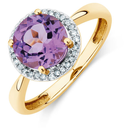 Ring with Amethyst & Diamonds in 10ct Yellow Gold | Tuggl