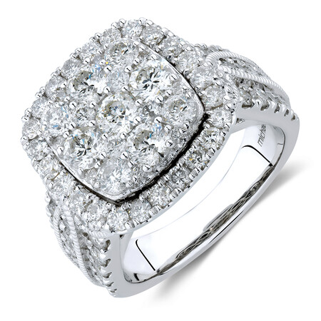 Cluster Halo Ring with 3 Carat TW of Diamonds in 10ct White Gold