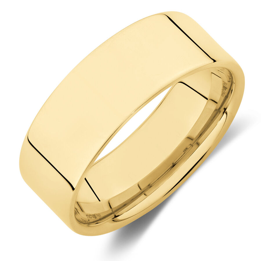 Flat Wedding Band in 10ct Yellow Gold