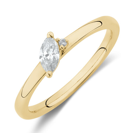 Stacker Ring with 0.23 Carat TW of Diamonds in 10ct Yellow Gold