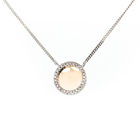 Circle Pendant with Diamonds in 10ct Rose Gold & Sterling Silver