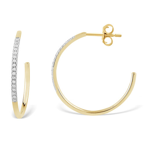Hoop Earrings with Diamonds in 10ct Yellow Gold