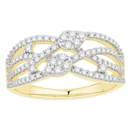 Crossover Ring with 0.40 Carat TW of Diamonds in 10ct Yellow Gold