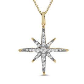 Star Pendant with 0.17 Carat TW of Diamonds in 10ct Yellow Gold