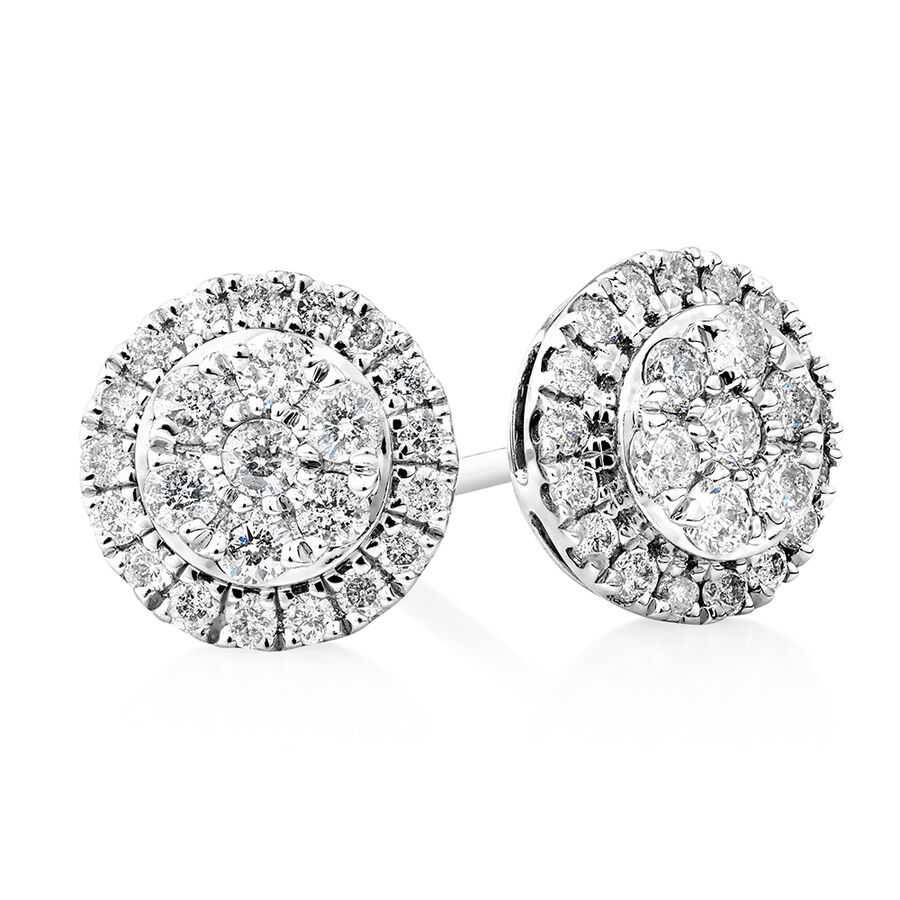 Cluster Earrings with 0.50 Carat TW of Diamonds in 10ct White Gold