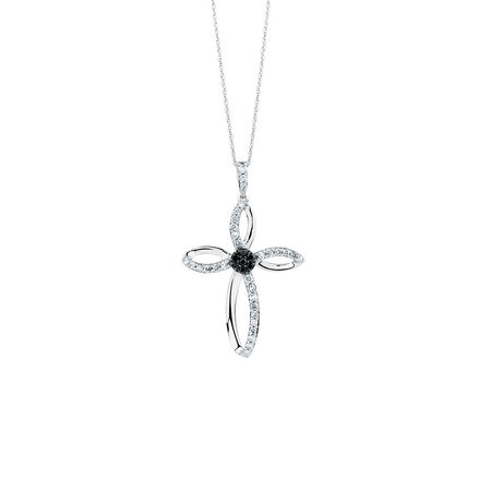 Online Exclusive - Pendant with 1/2 Carat TW of White & Enhanced Black Diamonds in Sterling Silver