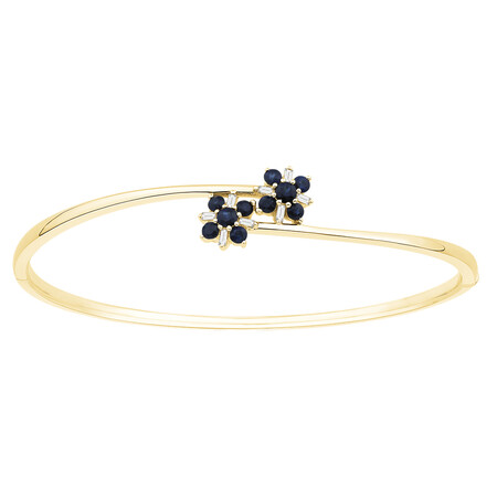 Bangle with Natural Sapphire & Diamonds in 10ct Yellow Gold