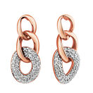 Link Earrings with 1/4 Carat TW of Diamonds in 10ct Rose Gold