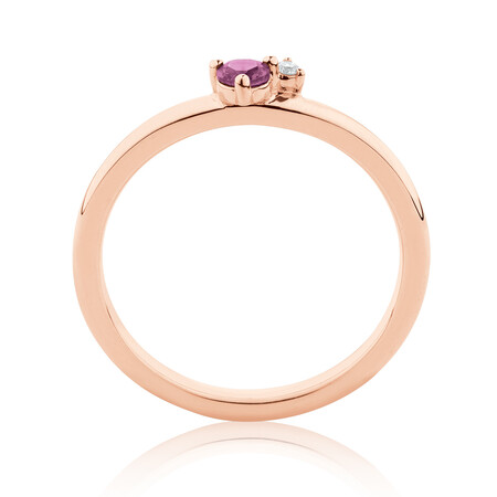 Stacker Ring with Diamond & Rhodolite Garnet in 10ct Rose Gold