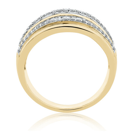 Four Row Ring with 1 Carat TW of Diamonds in 10ct Yellow Gold