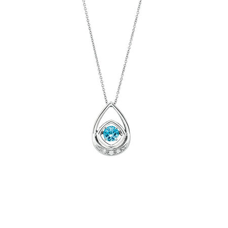 Online Exclusive - Everlight Pendant with Blue Topaz & Diamonds in Sterling Silver
