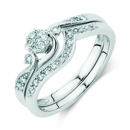 Bridal Set with 0.20 Carat TW of Diamonds in 10ct White Gold