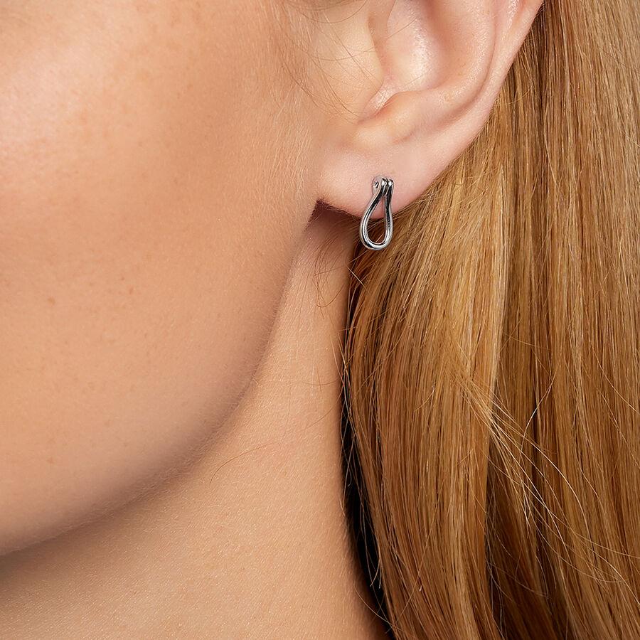 Open Loop Stud Earrings In Sterling Silver
