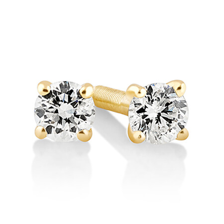 Solitaire Stud Earrings with 0.10ct TW Diamonds in 10ct Yellow Gold