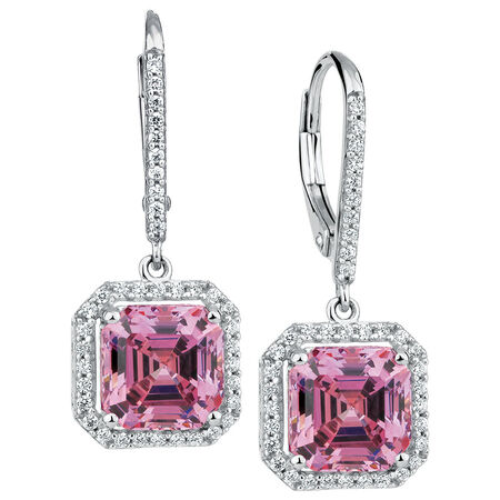 Online Exclusive - Earrings with Pink Swarovski Crystal & White Cubic Zirconia in Sterling Silver