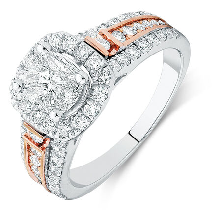 Online Exclusive - Engagement Ring with 1 1/2 Carat TW of Diamonds in 14ct White & Rose Gold