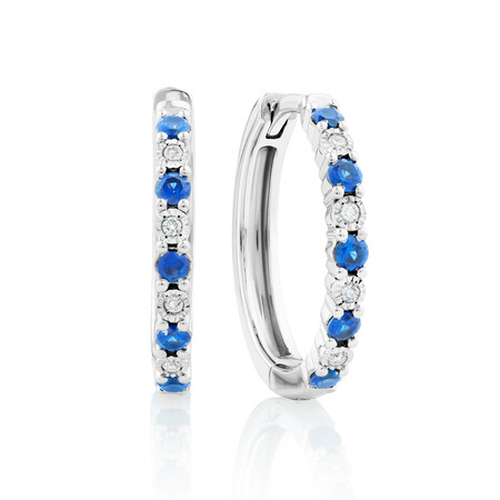 Created Sapphire Hoop Earrings With Diamonds In Sterling Silver