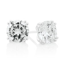 Solitaire Stud Earrings with Cubic Zirconia in Sterling Silver