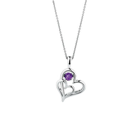Online Exclusive - Everlight Heart Pendant with Amethyst in Sterling Silver